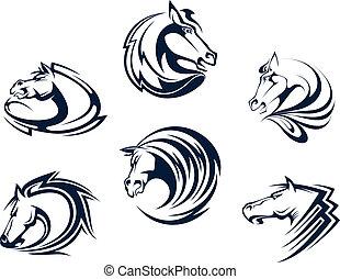 paarde, mascots, en, emblems