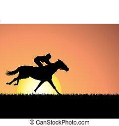 paarde, op, ondergaande zon , achtergrond