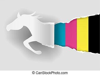 paarde, papier, silhouette, het scheuren