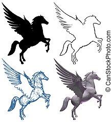 paarde, pegasus, vleugels, vect...