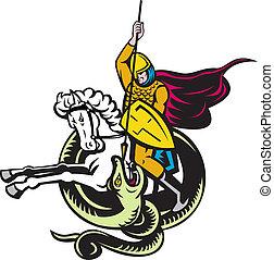 paarde, ridder, vecht, draak, slang, paardrijden
