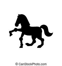 paarde, ros, symbool., meldingsbord, vector, black , dier, icon., spotprent