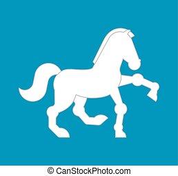 paarde, ros, symbool., meldingsbord, vector, dier, witte , icon., spotprent