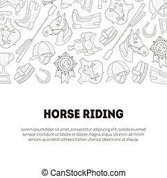 paarde, ruiter, tekst, school, uitrusting, club, lessen, vector, plek, illustratie, mal, monochroom, hand, getrokken, horseback, spandoek, paardrijden
