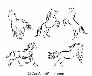 paarde, set, verzameling