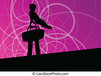 paarde, silhouette, poster, abstract, illustratie, vector,...