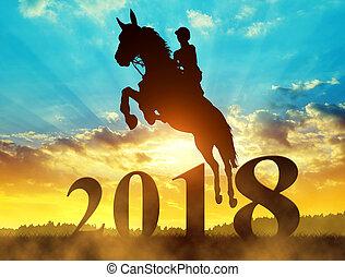 paarde, silhouette, springt, jaar, 2018., nieuw, passagier