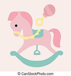 paarde, speelbal, vector, illustratie