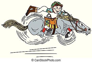 paarde, spotprent, het snelen
