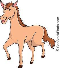 paarde, spotprent, illustratie