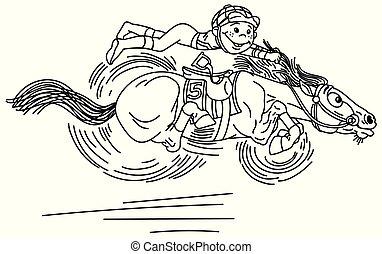 paarde, spotprent, schets, het snelen