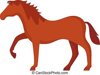 paarde, stijl, plat, pictogram, paardrijden