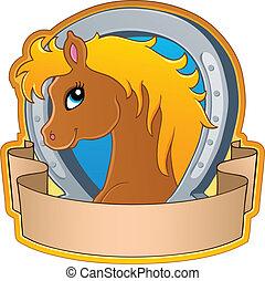 paarde, thema, beeld, 3