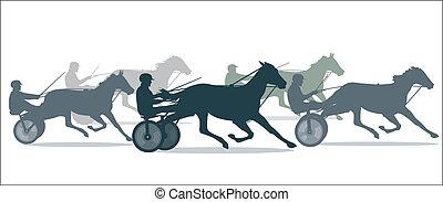 paarde, trotting, het snelen