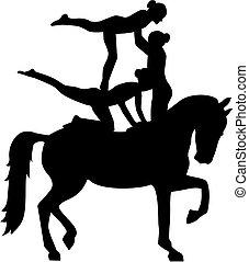 paarde, vaulting, van, drie vrouwen