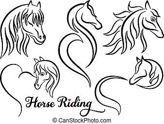 paarde, vector, set, paardrijden