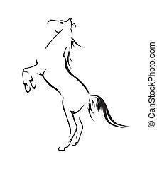 paarde, vector, symbool, illustratie