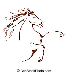 paarde, vector, symbool., illustratie