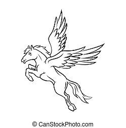paarde, vleugels