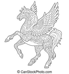 paarde, vliegen, pegasus