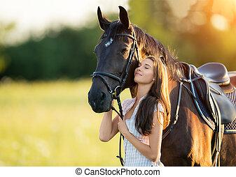 paarde, vrouw, haar, licht, jonge, avond, ondergaande zon