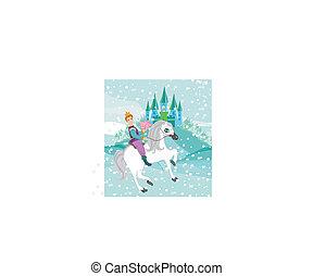 paarde, winter, prinsesje, dag, paardrijden, prins