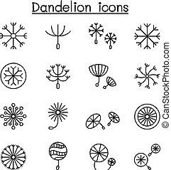 paardebloemen, stijl, set, vector, dune lijn, pictogram