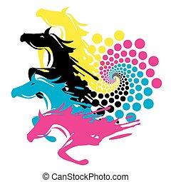 paarden, afdrukken, cirkel, kleur