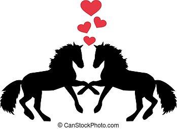 paarden, hartjes, liefde, twee