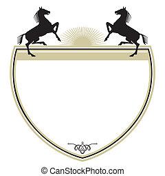 paarden, jas, armen, twee
