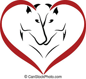 paarden, logo, vector, liefde