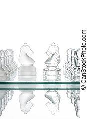 paarden, oorlog, schaakspel, gezicht, zakelijk, twee