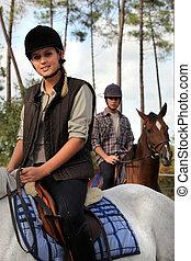 paarden, paardrijden, paar, samen