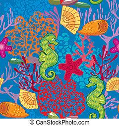 paarden, reef., coraal, sterretjes, zee, model, achtergrond, doppen, swatch., nautisch, gereed, blauwe , gebruiken, seamless, vissen