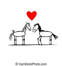 paarden, schets, liefde, paar, ontwerp, jouw
