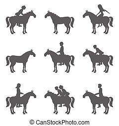 paarden, silhouettes., jockeys, het snelen