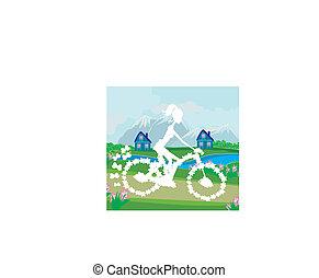 paardrijden, abstract, fiets, meisje, kaart