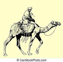 paardrijden, bedouin, kameel