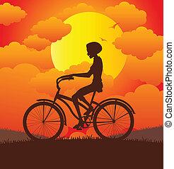 paardrijden, bicycle., vrouwen