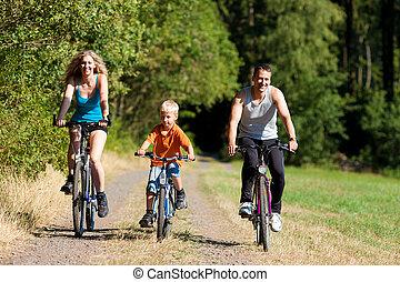 paardrijden, bicycles, sportende, gezin