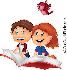 paardrijden, boek, vrolijke , kinderen, spotprent