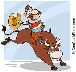 paardrijden, cowboy, stier