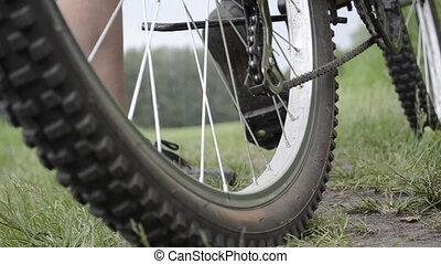 paardrijden, een, bicycle., wielen, closeup