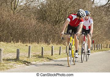 paardrijden, fietsers, straat, land