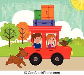 paardrijden, geitjes, auto
