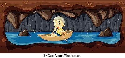 paardrijden, grot, rivier boot, geitje
