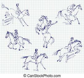 paardrijden, hand-drawn, jockey, horse.