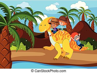 paardrijden, kinderen, dinosaurus
