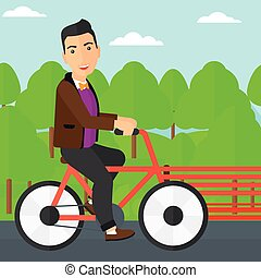 paardrijden, man, bicycle.