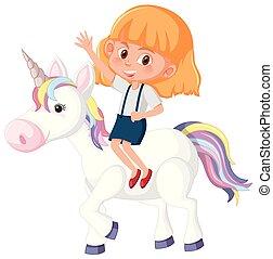 paardrijden, meisje, eenhoorn